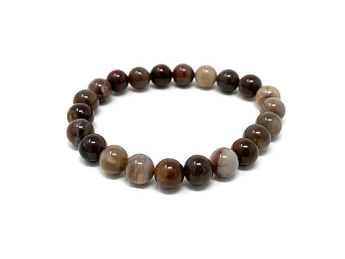 8 mm Round Fossilized Wood Agate Stretch Bracelet