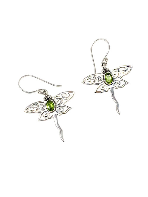 Sterling Silver Dragonfly Earrings with Natural Oval Peridot.