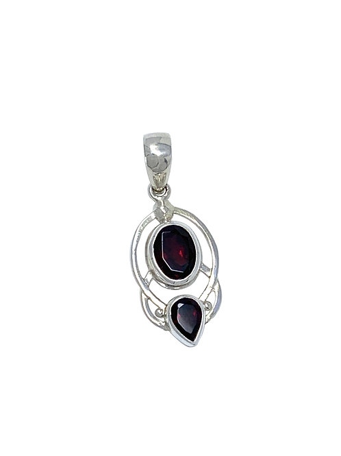Sterling Silver Pendant with Oval & Pear Shape Garnet stone