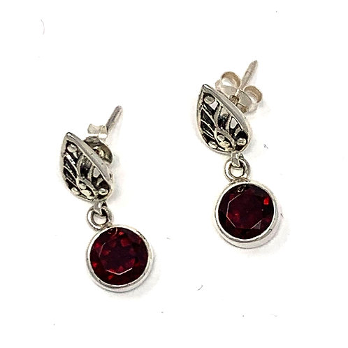 Sterling Silver Earpost Earrings with Natural 6mm Round Faceted Garnet.