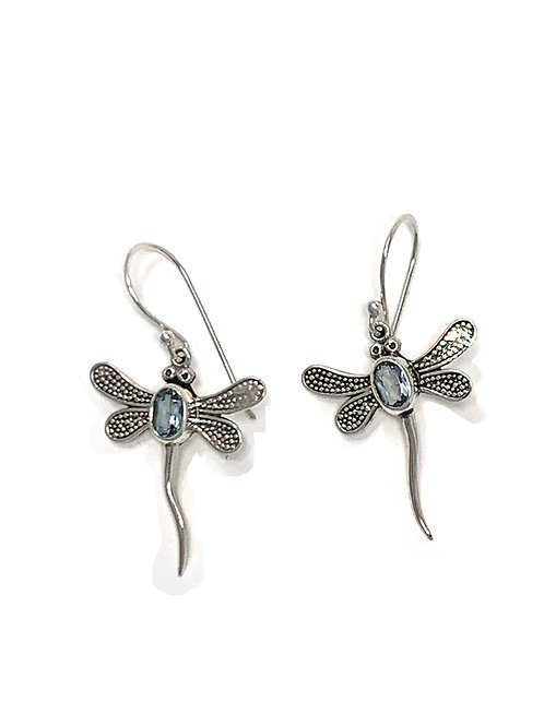 Sterling Silver Dragonfly Dangling Earrings with Oval Faceted Blue Topaz.