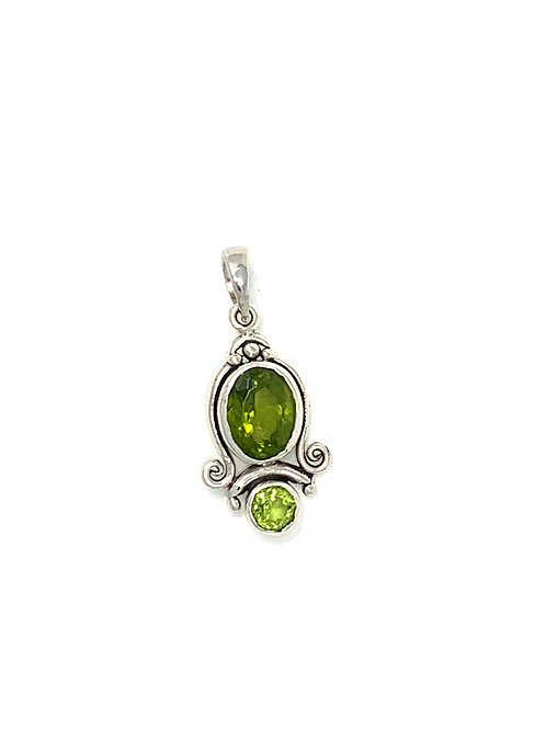 Sterling Silver Pendant with Oval & Round Peridot stone