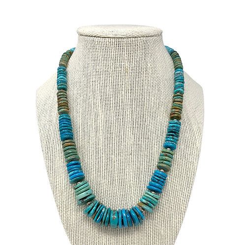 Sterling Silver Natural Turquoise Heishi Beads Necklace