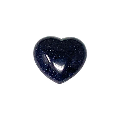 45 MM Blue Goldstone Puffy Heart