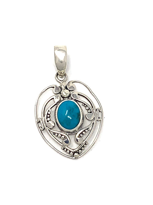 Sterling Silver Natural Turquoise Heart Shape Pendant