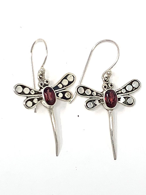 Sterling Silver Dragonfly Earrings with Natural Oval Garnet.
