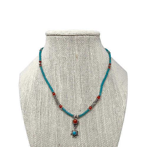 Sterling Silver Turquoise Heishi  with Natural Coral Necklace