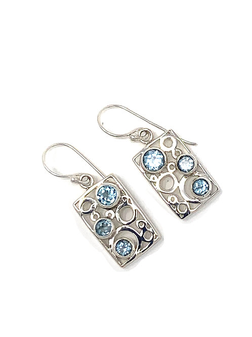 Sterling Silver Rectangle Dangling Earrings with Faceted Blue Topaz.