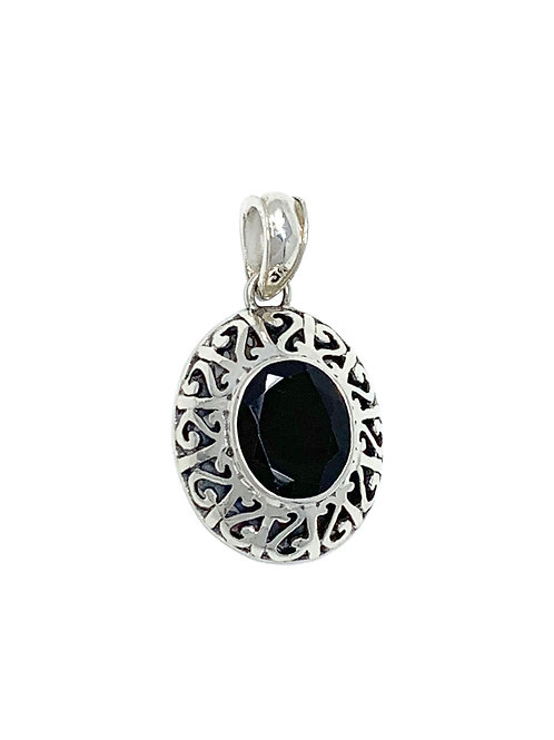 Sterling Silver Pendant with Oval Garnet stone