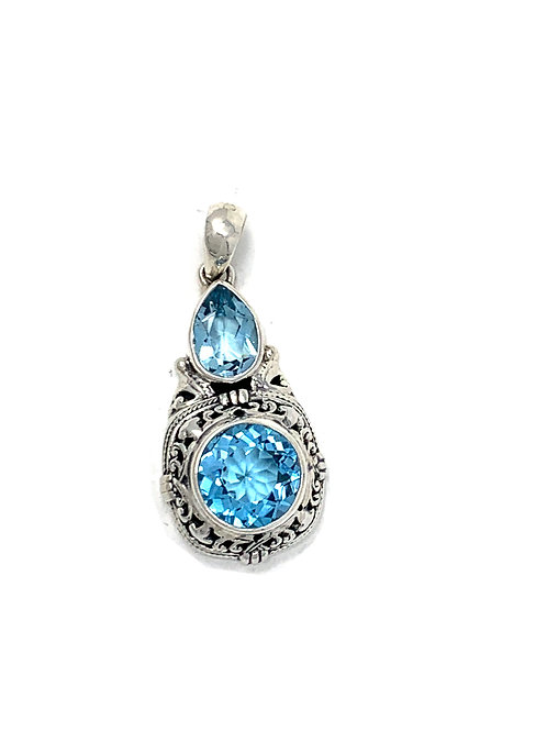 Sterling Silver Pendant with Round & Pear Shape Blue Topaz stone