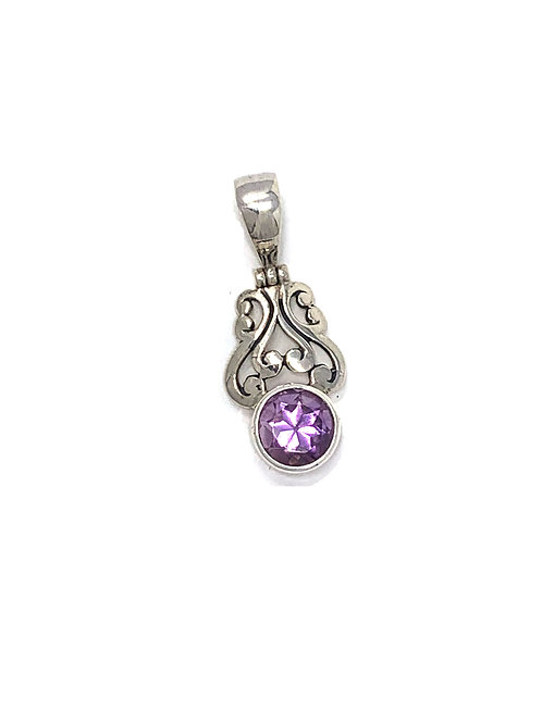 Sterling Silver Pendant with Round Shape Amethyst stone