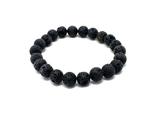 8 mm Round Black Lava. Elastic Bracelet