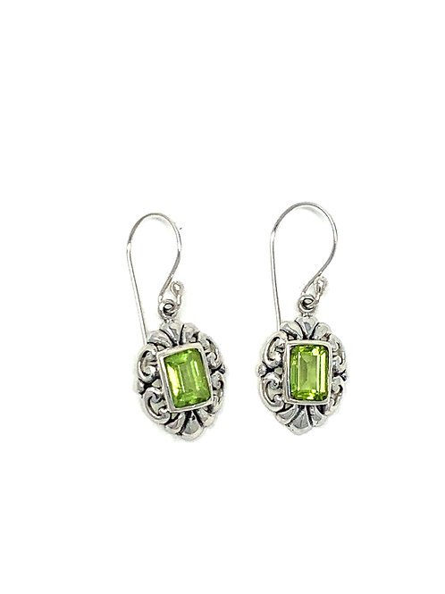 Sterling Silver Dangling Earrings with Natural Rectangle Peridot.
