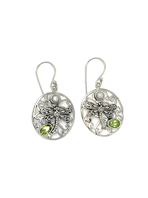 Sterling Silver Dragonfly Earrings with Natural Oval Peridot & Pearl.