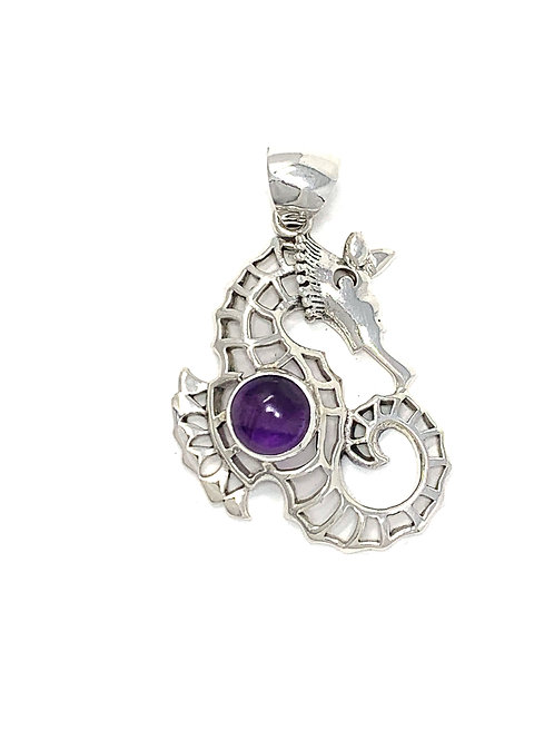 Sterling Silver Seahorse Pendant with Round Amethyst stone