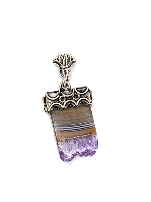 Sterling Silver Rectangle Amethyst Slice Pendant