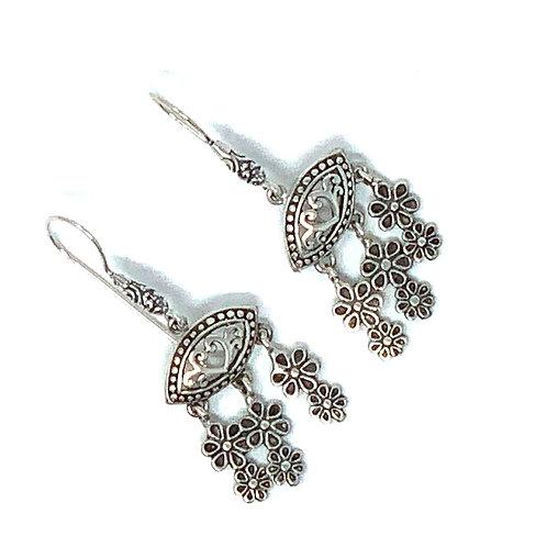 Sterling Silver Eye with Heart Dangling Earrings.
