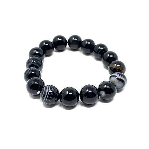 12 mm Round Black/White Sardonyx Agate  Elastic Bracelet