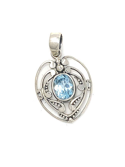 Sterling Silver Heart Pendant with Oval Blue Topaz stone