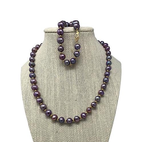 14K Gray / Purple Fresh Water Pearl Necklace & Bracelet Set