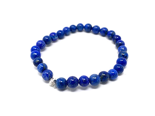6 mm Round Natural Lapis Strech Bracelet