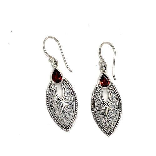 Sterling Silver Dangling Earrings with Natural Pear Shape Garnet.
