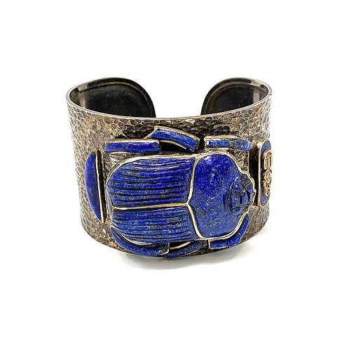 Handmade Sterling Silver Natural Lapis Scarab Bangle
