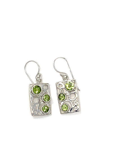 Sterling Silver Rectangle Earrings with Natural Round Peridot.