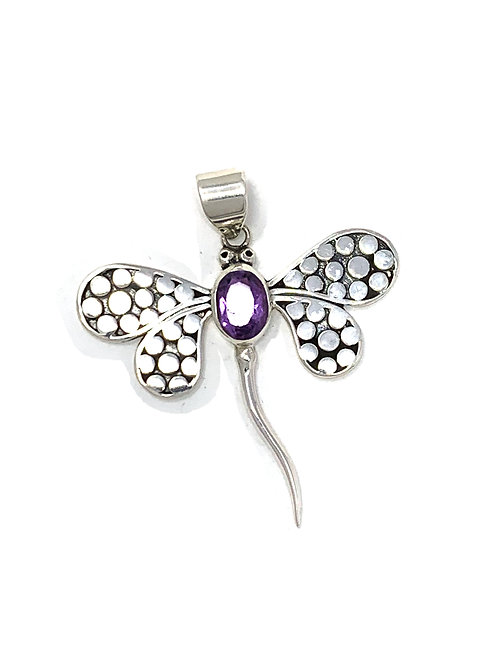 Sterling Silver Dragonfly Pendant with Oval Shape Amethyst stone