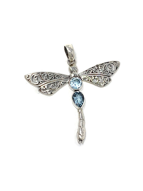 Sterling Silver Dragonfly Pendant with Round & Pear Shape Blue Topaz stone