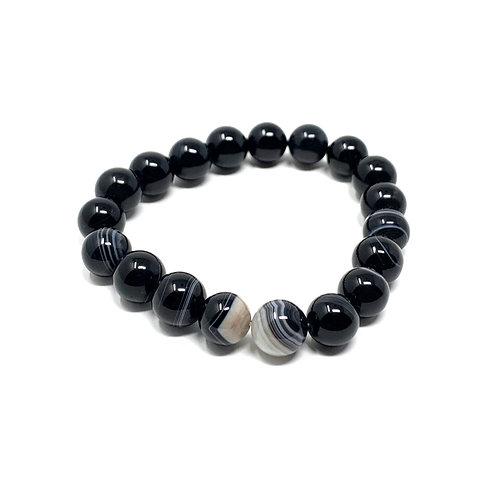 10 mm Round Black/White Sardonyx  Elastic Bracelet