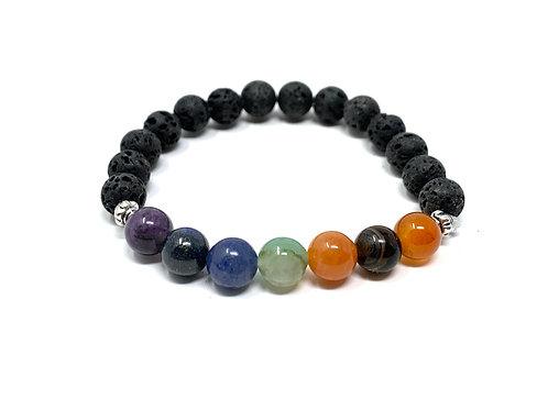 8 mm Lava /8 mm Round Chakra Elastic Bracelets