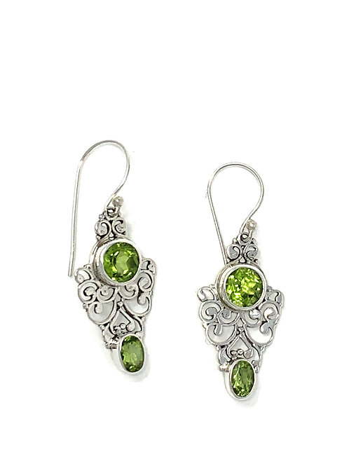 Sterling Silver Dangling Earrings with Natural Round & Oval Peridot.
