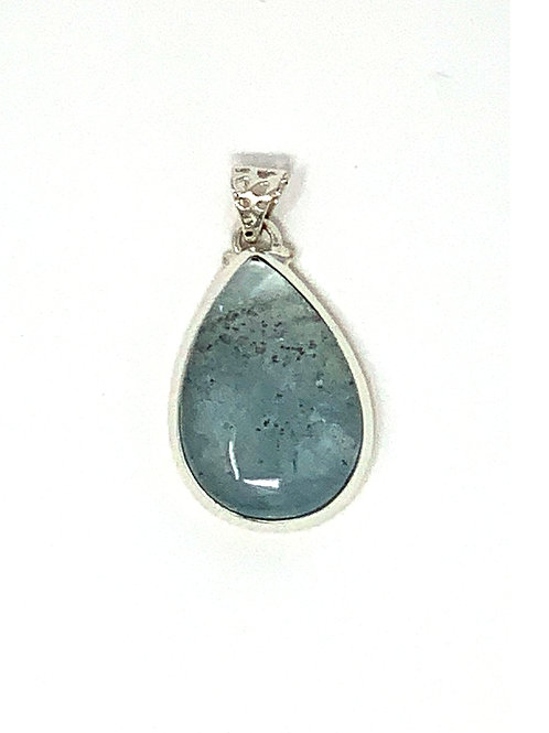 Sterling Silver Pendant with Large Pear Shape Natural Aquamarine Cabochon