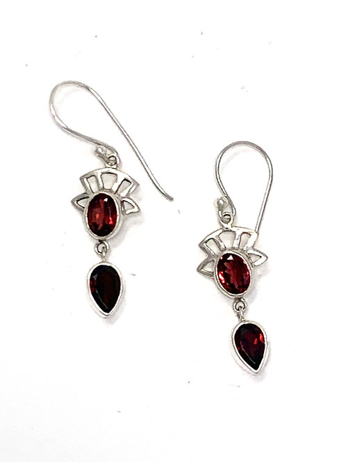 Sterling Silver Dangling Earrings with Natural Oval & Pear Shape Garnet.