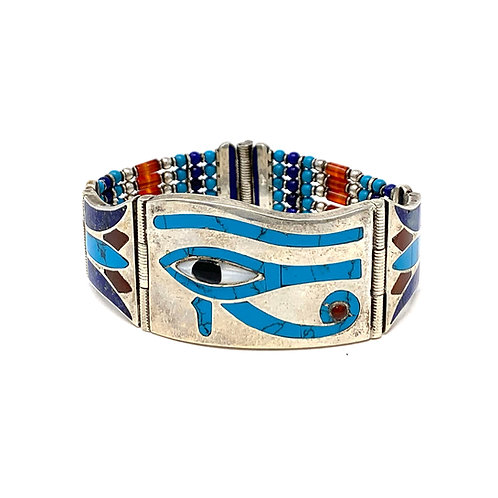 Handmade Sterling Silver Eye Of horus Beaded Bracelet.