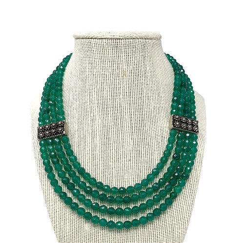 Sterling Silver Green Agate Necklace Emerald Color.