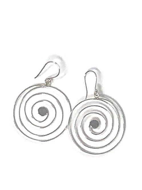 Sterling Silver Round Swirl Dangling Earrings.