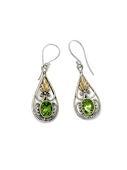 Sterling Silver & 14K Gold Dangling Earrings with Natural Oval Peridot.