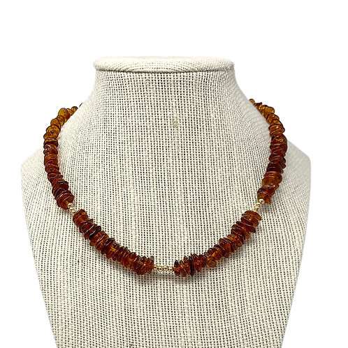 14K Natural Amber Nuggets Necklace