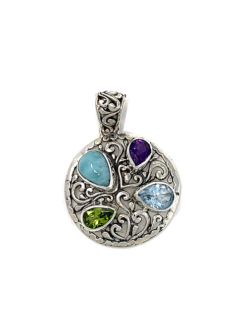 Sterling Silver Round Pendant With Amethyst, Peridot,Blue Topaz & Larimar