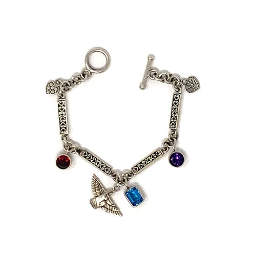 Sterling Silver Bracelet with Goddess ISIS with Amethyst, Garnet and Blue Topaz