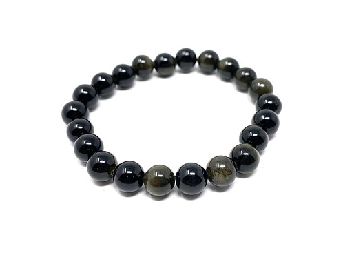 8 mm Round Golden Obsidian Elastic Bracelet
