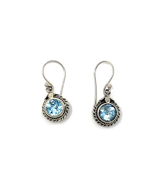 Sterling Silver Dangling Earrings with Natural Round Faceted Blue Topaz.