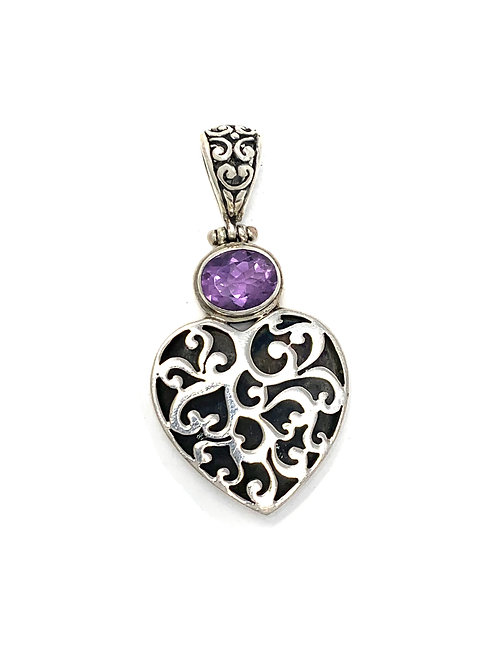 Sterling Silver Heart Pendant with Oval Amethyst stone