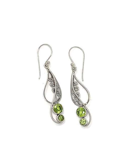 Sterling Silver Dangling Earrings with Natural Round Peridot.