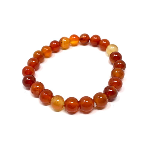 8 mm Round Red Carnelian Agate Elastic Bracelet