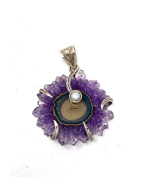 Sterling Silver Amethyst Oval Slice with Pearl Pendant