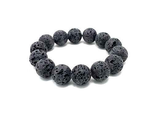 14 mm Round Black Lava. Elastic Bracelet