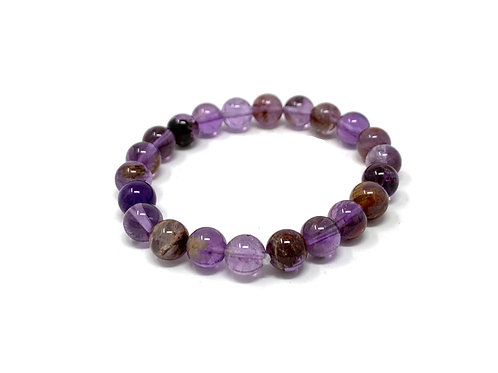 8 mm Round Super 7 Phantom Amethyst Bracelets